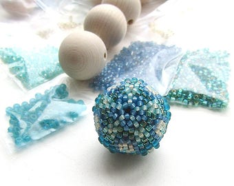 Beaded Bead Kit, Teal and Blue, 25mm Focal, White Blue Green, Beadweaving DIY, Peyote Stitch Kit