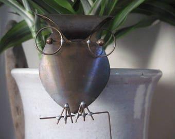 Vintage Brass Kinetic Owl Sculpture