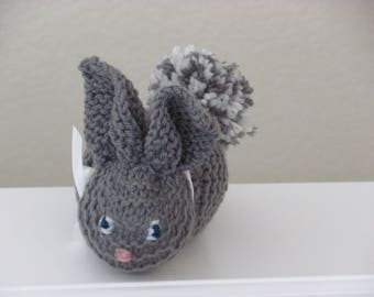 Gray Knit Handmade Bunny Toy, Handmade Knit Baby Toy, Hand Knit Rabbit, Gray Knit Easter Bunny, Knit Sleepy Bunny, Baby Child Stuffed Toy