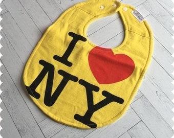 I Love New York Baby Bib, Recycled T-Shirt Baby Bib, Baby Shower Gift, I Heart NY Baby Bibs