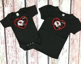 arizona cardinals girls shirt - arizona cardinals baby top - big sister little sister shirts - cardinals baby girl - cardinals baby gift