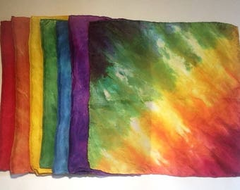 Wee peu 11 x 11 » Playsilks - arc en ciel de couleurs - lot de 7