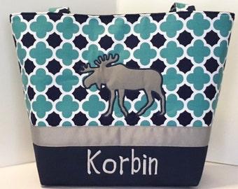 Personalized Moose Diaper Bag . Weekender / XL . Navy Blue and Teal Quatrefoil . boy diaper bag monogrammed FREE