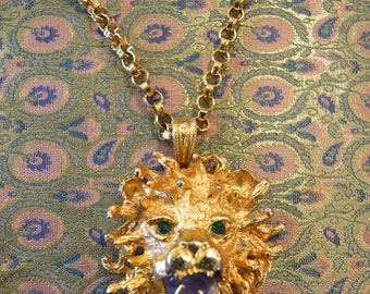 Vintage Gold Lion Pendant Necklace