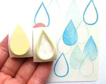 rain drop rubber stamp set | tear drop | weather stamp | spring birthday card making | diy planner | hand carved by talktothesun | set of 2