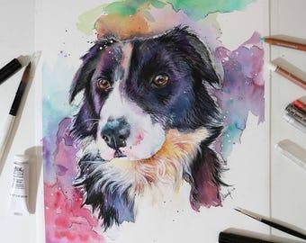 Custom Pet Portrait, Watercolor Painting, Pet Portrait, Painting, Dog Portrait, Dog Art, Original Painting, Rainbow