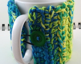 Crocheted Coffee or Ice Cream Cozy, Blues, Greens, and Yellow (SWG-Z11)