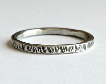 Silver Stacking Ring, Textured Handcrafted Sterling Silver Stack Ring, Oxidized, Made to Order, Gift for Her