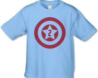 Superhero Birthday Shirt - 2nd Birthday T-Shirt -  Superhero Theme Birthday  - Birthday Shirts - Choose your number