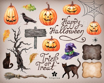 Halloween WATERCOLOR holiday Clip Art. Pumpkin hat cat raven banner text 21 PNG elements 4 backgrounds 12x12 digital paper. Read about usage