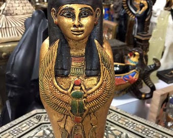 Vintage Unique Goddess Isis Statue Hand Carved Wood Made in Egypt