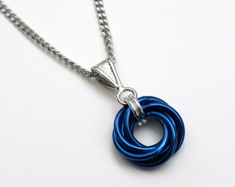 Blue Love Knot chainmail pendant necklace