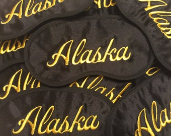Add your Name or Saying Embroidered on a Silky Satin Eye Mask Custom Made with FREE embroidery