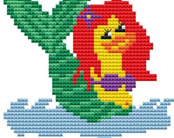 Cross Stitch Kit 'Mermaid Duck' Cross Stitch Pattern - Duck