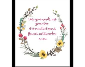 Raise Your Voice - Rumi Quote Print