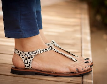 Leather Sandals, Animal Print Sandals, Leopard Summer Sandals, Printed Shoes , Free Shipping