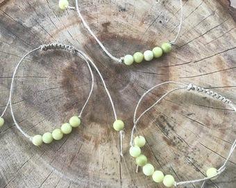 Handmade Hemp Knotted Slide Adjustable Olive Jade Stone Beaded Bracelet