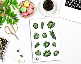 Flower Stickers, Green Leave Stickers, Decorative Stickers, Watercolor Stickers, Planner Stickers, Bullet Journal Stickers