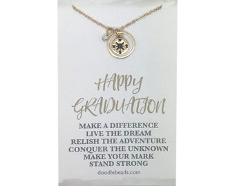 Compass necklace, gold or silver- graduation gift for her, graduate gift, college graduation, happy graduation carded gift
