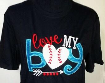 Love My Boy Baseball Tee/Baseball Shirt/Arrow Tee/Ladies Baseball Shirt/Baseball Applique Tee/Love My Boy Baseball Shirt