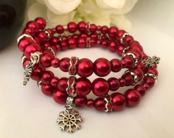 Red Glass Beads, Red Rhinestone & Tibetan Snowflake Charms Memory Wire Bracelet