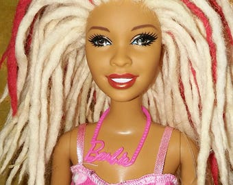 Custom Made Natural Hair Doll with Red Dreads