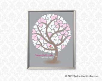 Personalised Wedding Guest Book Tree Alternative Poster - Lovebirds - 16x20 in - 85 Signatures - Canvas, Paper or Digital Printable