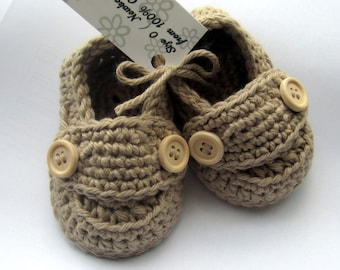 Crochet Baby Booties, Cotton Little Button Loafers, crib shoes, baby slippers // Many sizes and colors to choose from // Baby shower gift
