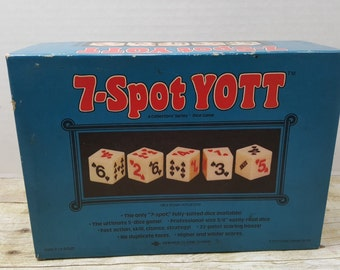 7 Spot Yott, 1977, vintage dice game, yahtzee, board game, Classic games