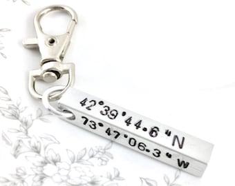 Custom coordinates jewelry, Custom coordinate keychain, Coordinates gift for men, Latitude longitude keychain, Keychain necklace or bracelet