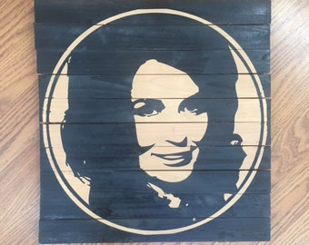 Handmade Loretta Lynn Wood Wall Art
