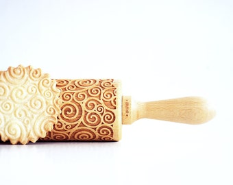 SPIRALS  - Embossing rolling pin, laser engraved rolling pin.