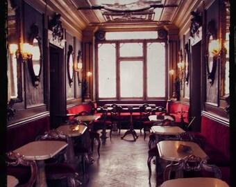 VENTE : Florian thé chambre Venise Italie voyage photographie cuivre or velours rouge café fenêtre murale classique romantique historique d'art