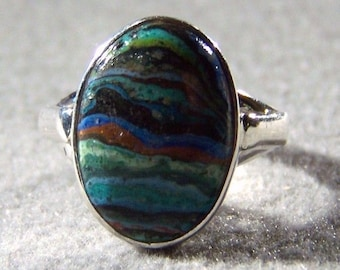 Vintage Sterling Silver Oval Bezel Set Multi Colored Rainbow Agate Band Ring, Size 8       **RL