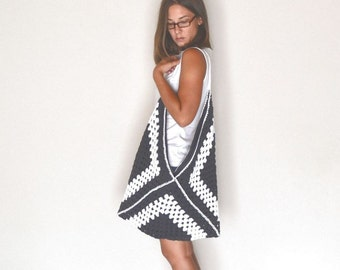 Granny Square Bag Extra Large Crochet Market Beach Tote White Charcoal Gray
