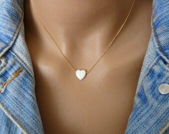 Opal Heart necklace, Opal necklace, White heart opal necklace, Gold Fill necklace, Romantic necklace, Opal jewelry