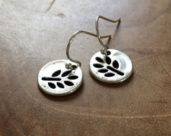 Branch - silvertone dangling earrings with metal charm with a cut-out pattern of a branch with leaves - boho, bohemian, gypsy, hippie, round