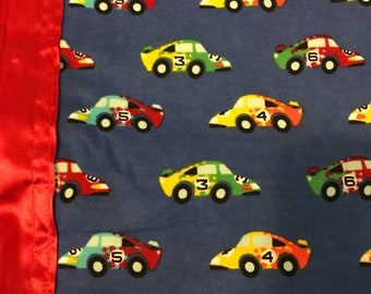 Race car silkie baby blanket