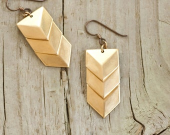 Brass Chevron Earrings - Geometric Brass Shield Earrings by Prairieoats