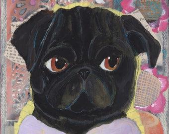 Pug Dog Lover Art Gift, Funny Animal Art Print, Dog Lover Gifts For Women Under 20, Boho Mom Gift, Pug Gift For Her, Art Under 20, Pug Print