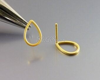 4 small 11mm open teardrop stud earrings in matte / frosted gold, earring findings, brass earrings 1078-MG-11