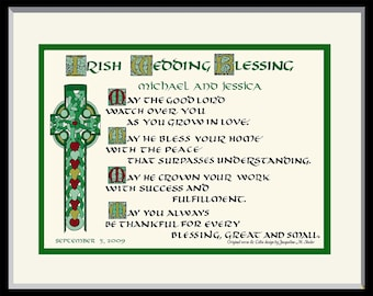 Irish Celtic Wedding Blessing Gift, FREE US shipping and personalizing. My Celtic calligraphy and unique design, custom matted and framed