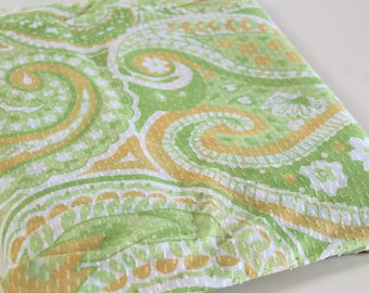 Vintage Flocked Voile Fabric - Green and Orange textured retro Paisley print light weight cotton dress decor fabric - 3.25 yards