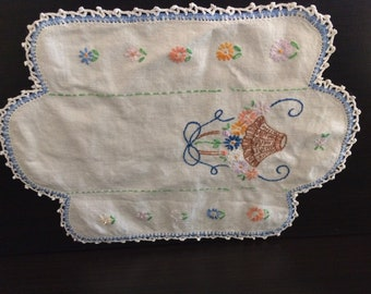 Vintage Small Embroidered Dresser Scarf with Basket Full of Flowers and Crochet Edges