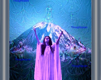 Pisces Goddess Art Print 8 x 10 – Psychedelic Trippy Visionary Festival Artwork - Fish Mountains Surreal Occult Tarot Astrology