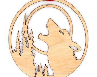 Wooden Howling Wolf Ornament