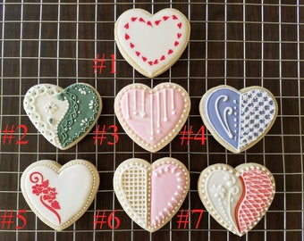 One Dozen Assorted (12) Heart Decorated cookies - Valentine, Engagement, Bridal shower, Wedding, Anniversary, Special occasion