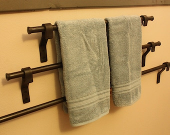 "Forged Iron Towel Bar. Choose From 18"", 24"", or 36"". These also make fine Quilt Hangers or Pot Racks!!!"
