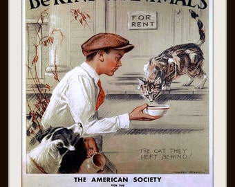 Be Kind to Animals poster print, Cat drinking milk circa 1915 - Vintage Kitchen art - Animal Lover Gift - Kitten Poster - Vet Office Art