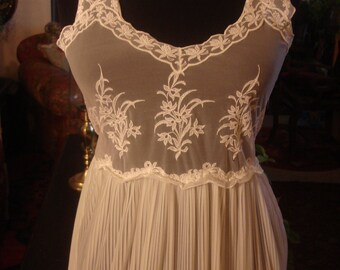 Vintage 1960sTop Lace Sheer Chiffon Bridal Chic Lingerie Sweeping Floor Length Gown